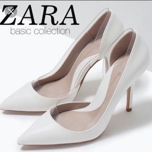 Zara off white pump with clear details